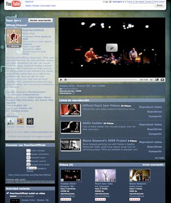 Canal oficial de Pearl Jam en YouTube