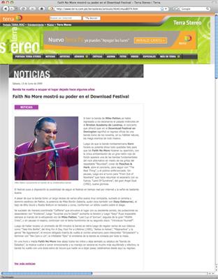 Nota publicada por Terra Perú, que luego fue eliminada